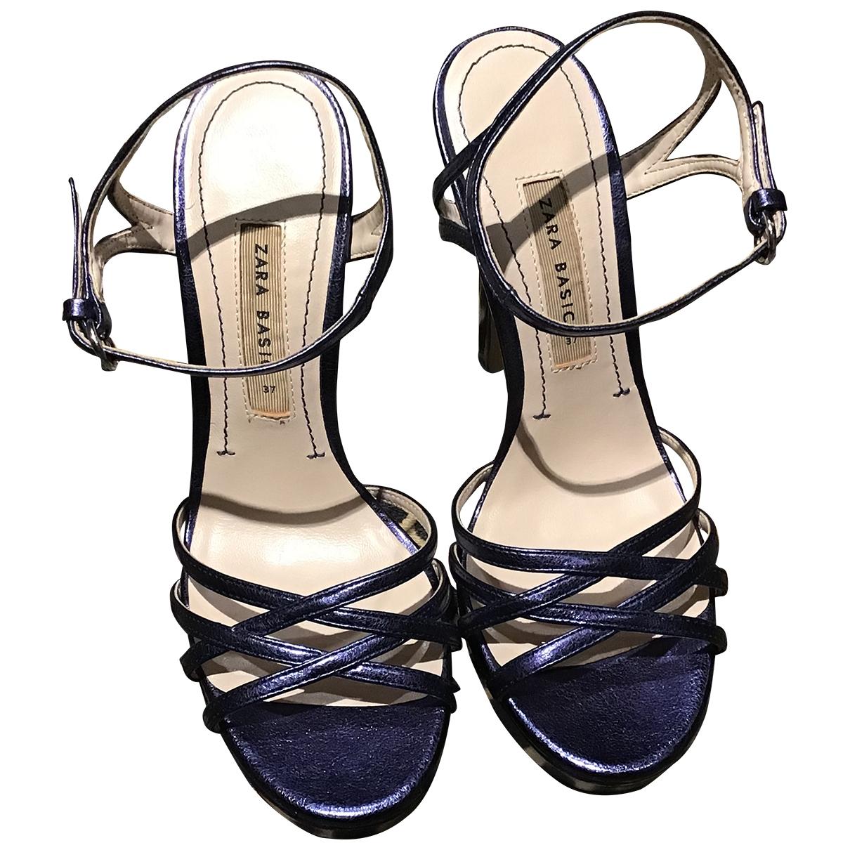 Zara - Sandales   pour femme en cuir - bleu