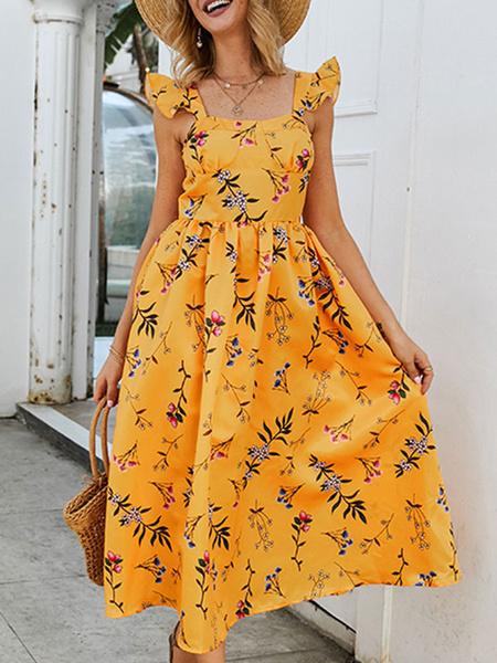Milanoo Vestido de verano Amarillo Cuello cuadrado Sin mangas Volantes Estampado floral Sin espalda Vestido largo Vestido de playa