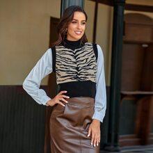 Pulloverweste mit Stehkragen und Zebra Muster