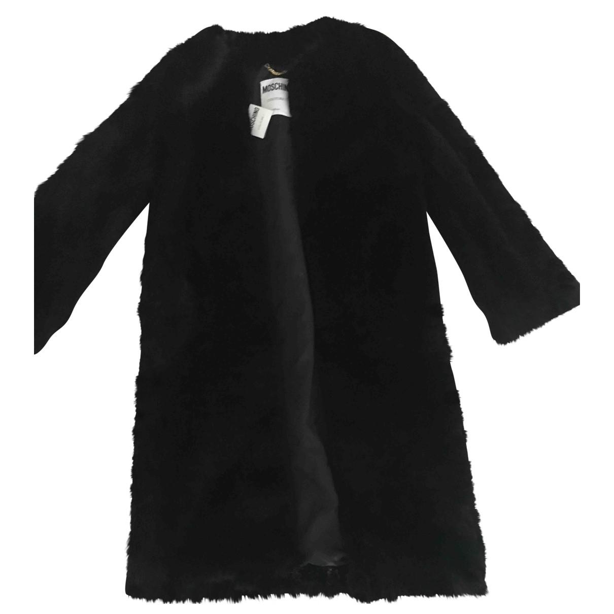 Moschino - Manteau   pour femme en fourrure synthetique - noir
