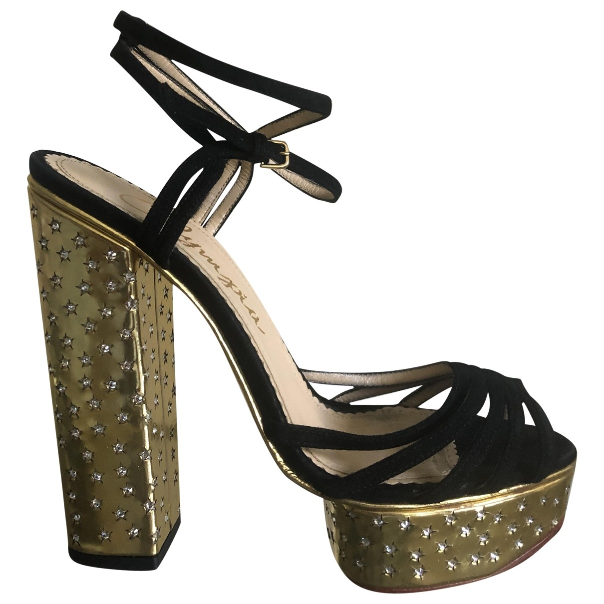 Charlotte Olympia \N Gold Suede Sandals for Women 38.5 EU