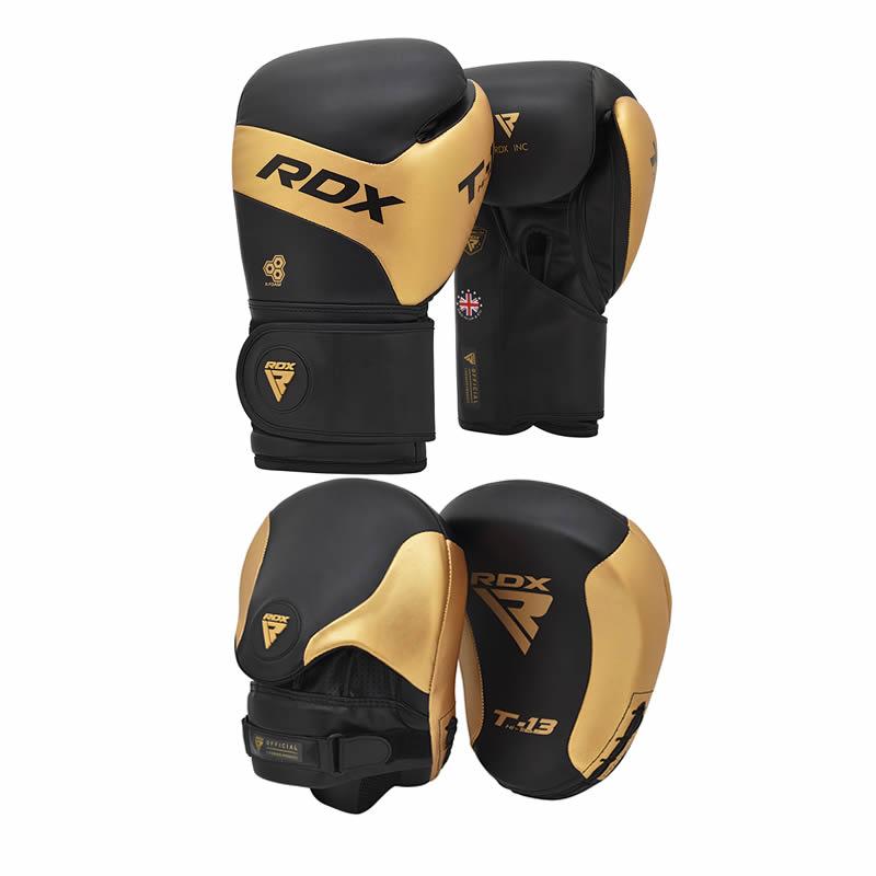 RDX T13 Boxhandschuhe and Boxpratzen Golden / Schwarz 12oz