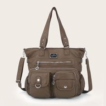 Multi-pocket Front Tote Bag