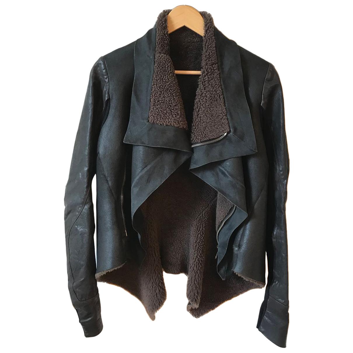 Rick Owens - Manteau   pour femme en cuir - noir