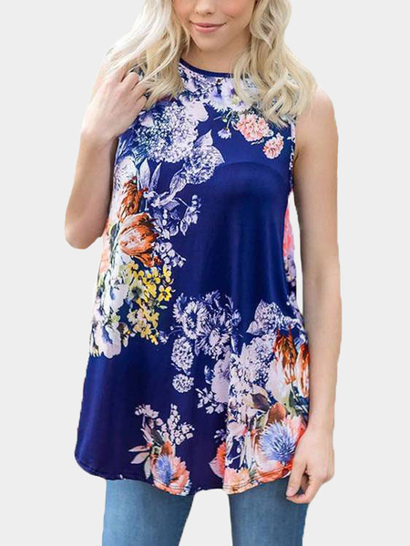 Yoins Royal Blue Casual Round Neck Pleated Hem Floral Print Top