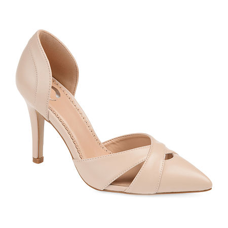 Journee Collection Womens Dora Pumps Block Heel, 11 Medium, Beige