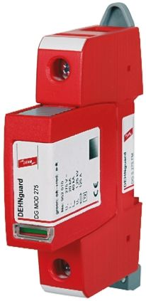 Dehn DG Series 275 V ac, 350 V dc Maximum Voltage Rating 40kA Maximum Surge Current Type 2 Arrester, Plug In Mounting