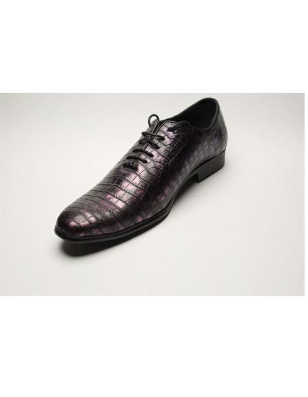 Men's Two Toned Lace Up Fashion Black/Pink Wing Tip Dress Shoes