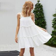 Mehrschichtiges Cami Kleid mit Band auf Schulter
