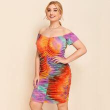 Plus Off Shoulder Tie Dye Ruched Dress
