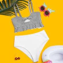 Girls Striped Knot Front Bikini Swimsuit