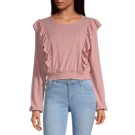 Arizona-Juniors Womens Round Neck Long Sleeve Slubbed Blouse, Small , Pink