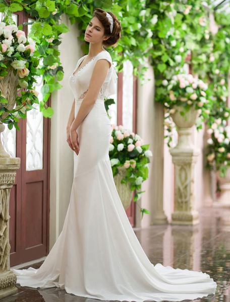 Milanoo Ivory Mermaid V-Neck Rhinestone Court Train Wedding Dress For Bride