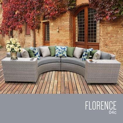 FLORENCE-04c Florence 4 Piece Outdoor Wicker Patio Furniture Set 04c with 1 Cover in