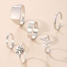 6pcs Heart Decor Ring