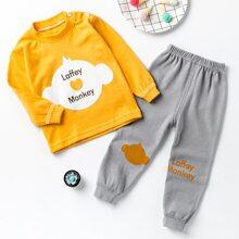 Sweatshirt mit Buchstaben & Karikatur Grafik & Jogginghose