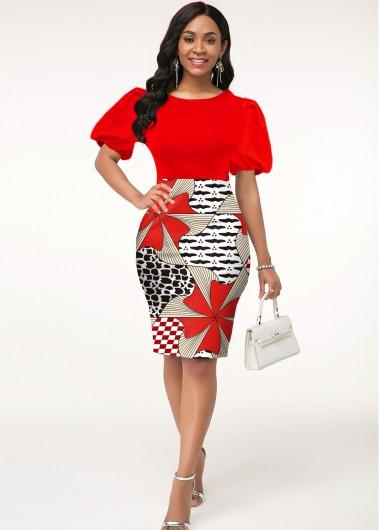 Red Dresses Geometric Print Round Neck Puff Sleeve Dress - S