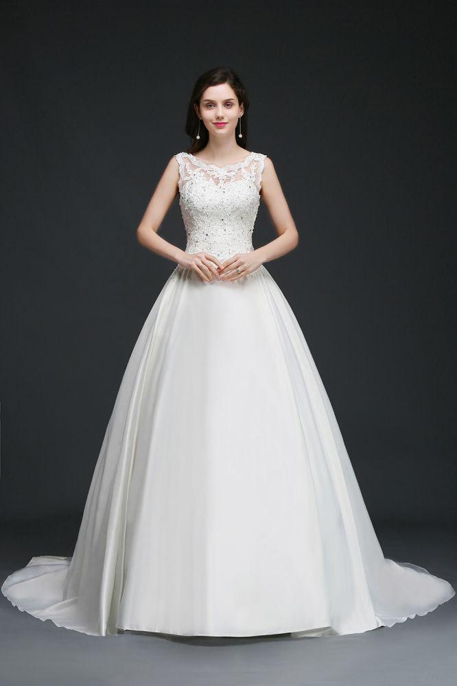 ANAHI | A-line Sweep Train Elegante vestido de novia con abalorios