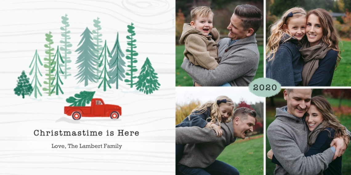 Christmas Photo Cards Flat Glossy Photo Paper Cards with Envelopes, 4x8, Card & Stationery -2020 Red Farm Truck Rustic Photo Collage by Hallmark