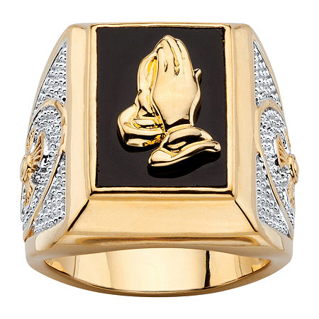 Mens Genuine Black Onyx 14K Gold Over Brass Fashion Ring, 10 , No Color Family