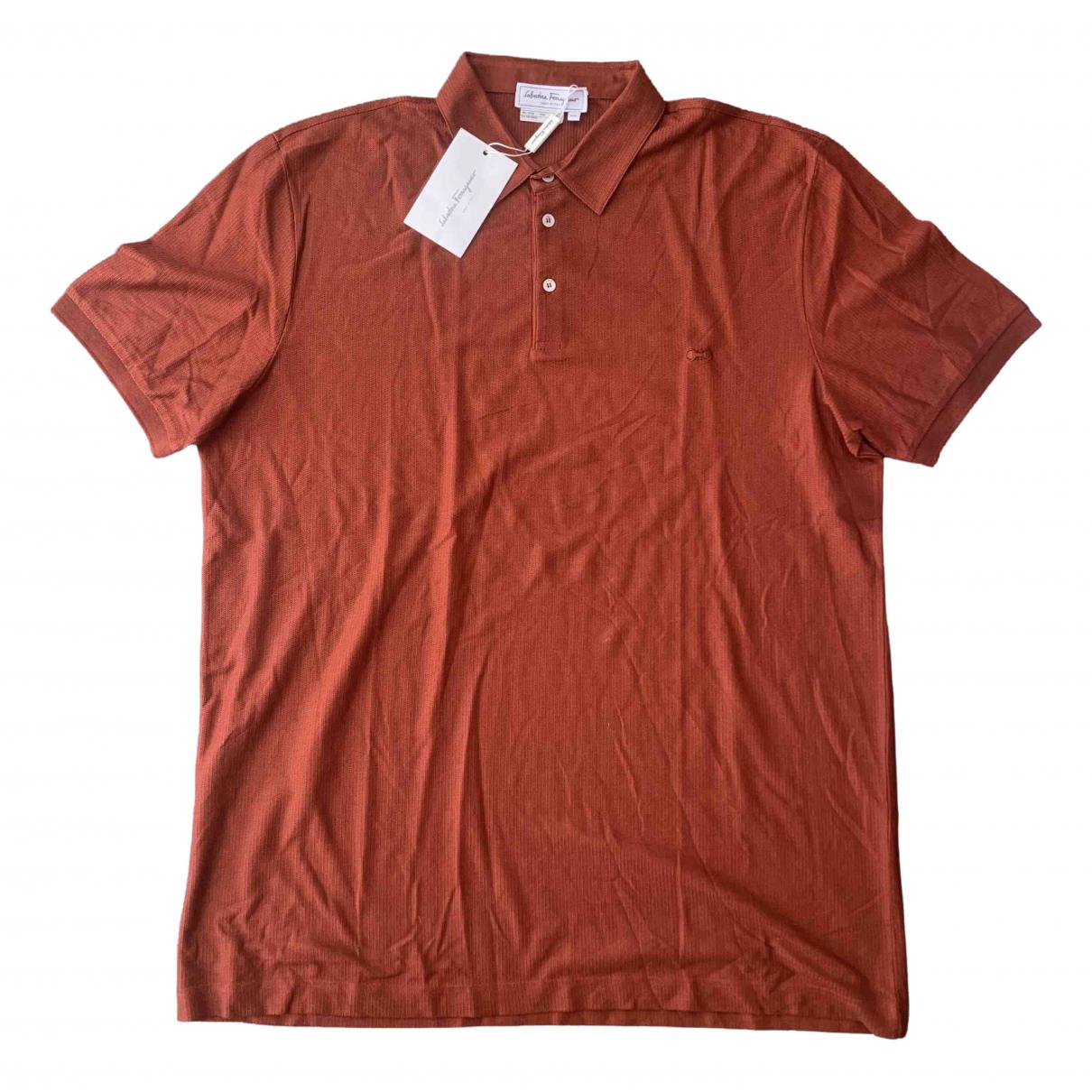 Salvatore Ferragamo - Polos   pour homme en coton - marron