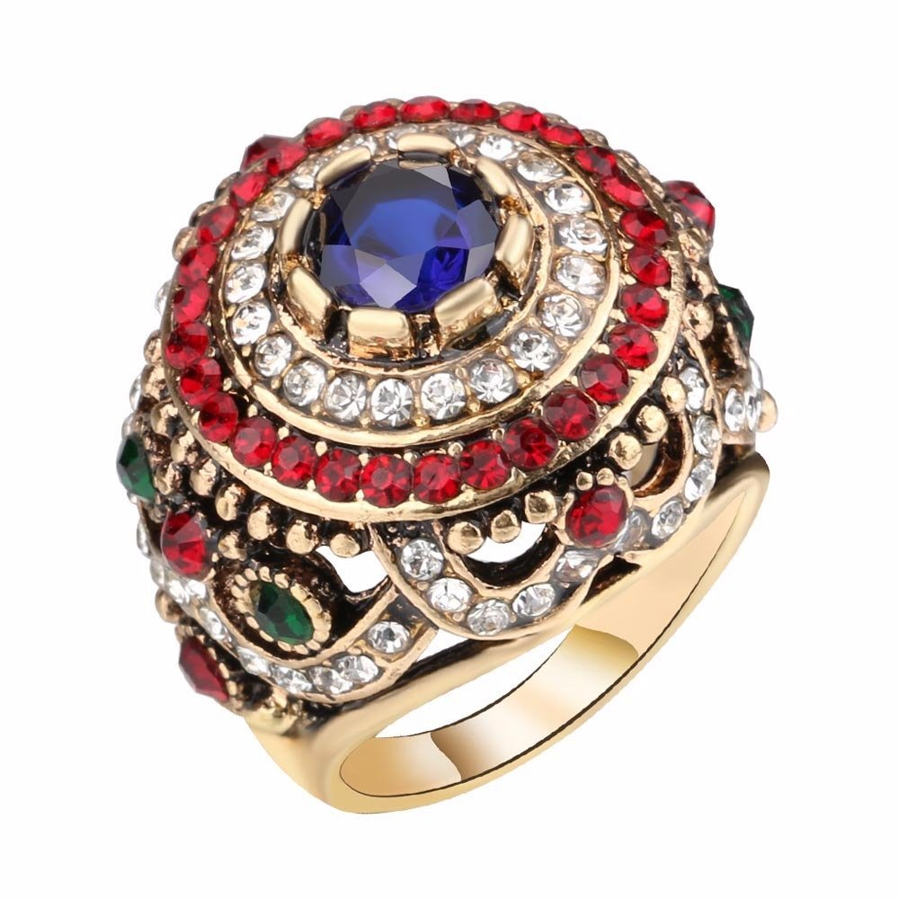 Bohemian Finger Rings Opal Gold Plated Blue Resin Crystal Hollow Rings Ethnic Jewelry for Women