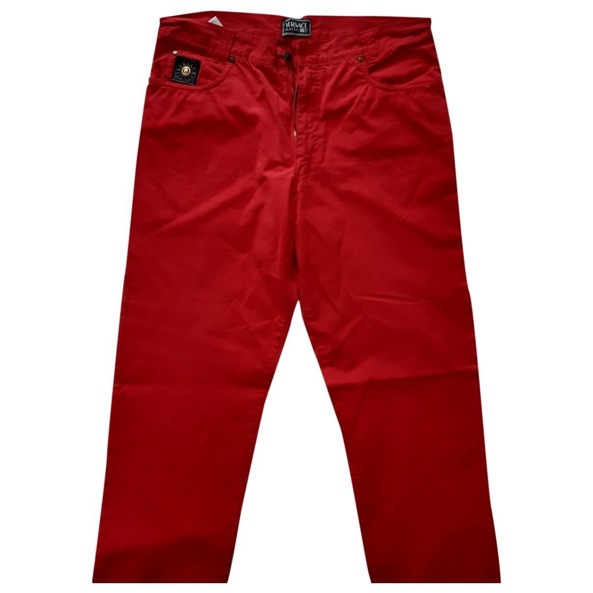 Versace \N Hose in  Rot Baumwolle