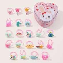 20pcs Toddler Girls Cartoon Design Ring With Case