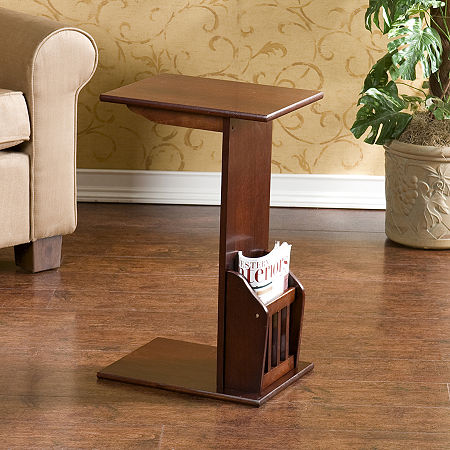 Montgomery C-Shape Magazine Table, One Size , Brown
