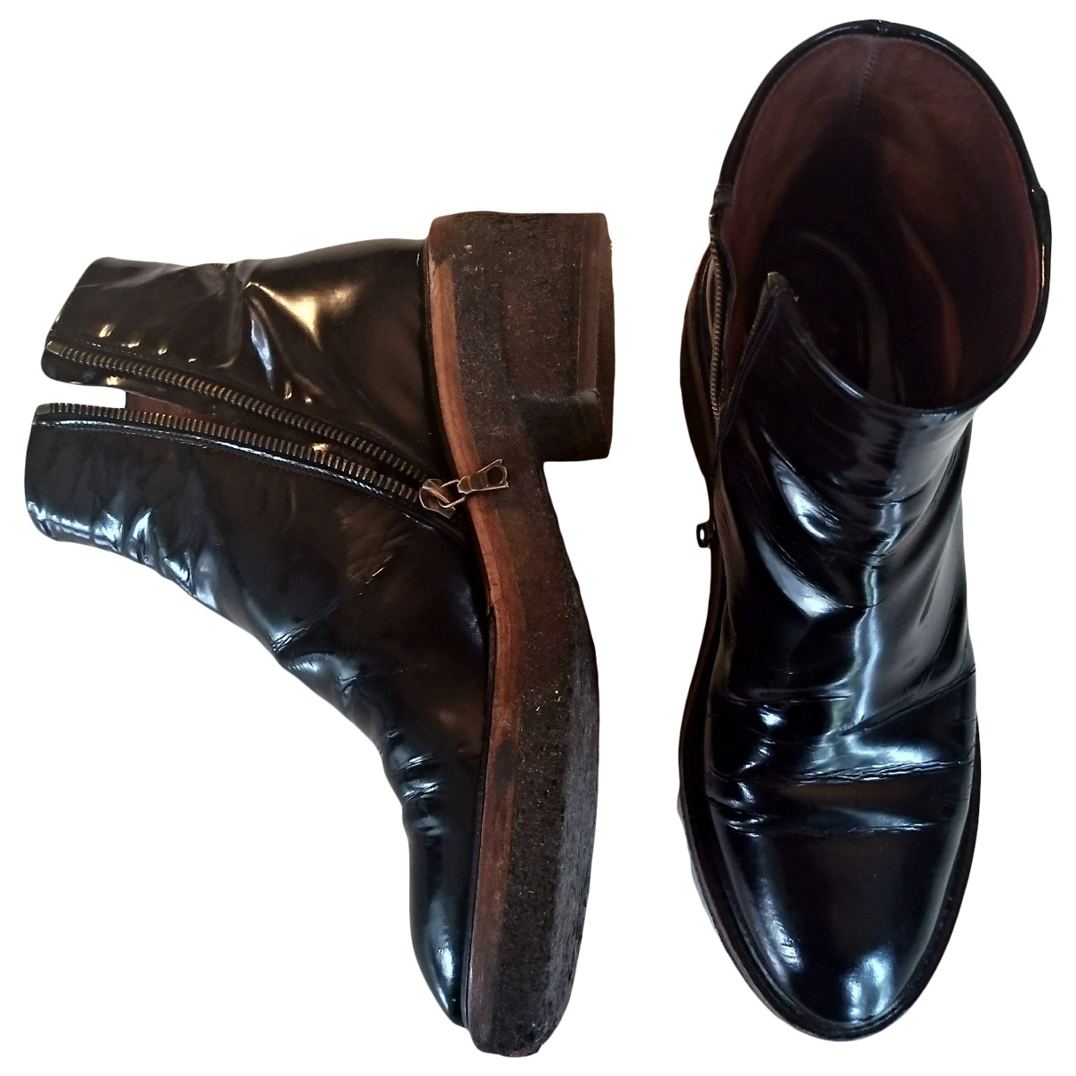Dries Van Noten \N Black Patent leather Ankle boots for Women 37 EU