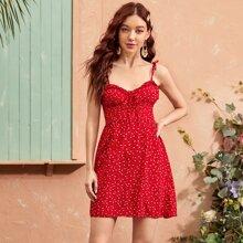 Cami Kleid mit Rueschenbesatz, Knoten, geraffter Rueckseite und Bluemchen Muster