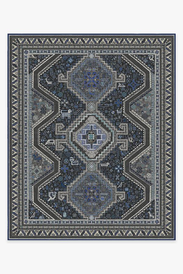 Washable Rug Cover | Zareen Steel Blue Rug | Stain-Resistant | Ruggable | 8'x10'