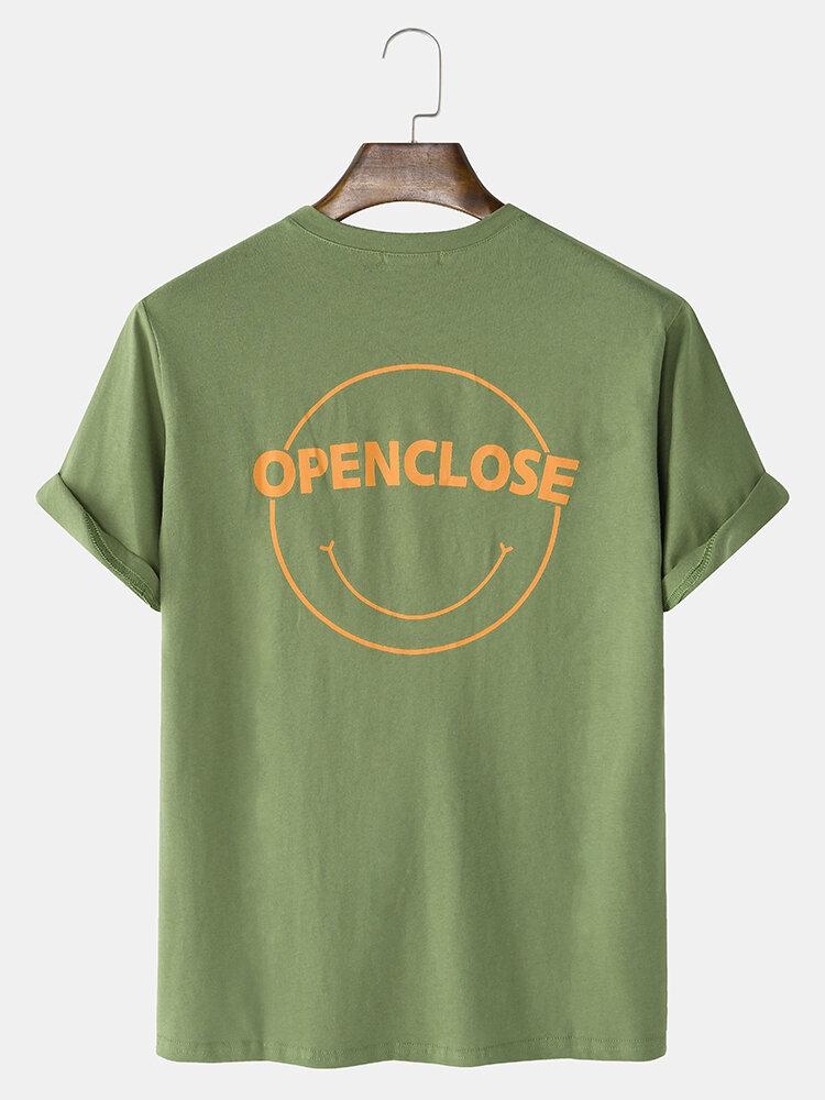 Mens Cotton Character & Emojis Print Loose Light Round Neck T-Shirts
