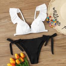 Ruffle Trim Tie Side Bikini Swimsuit
