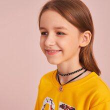 Maedchen Mehrschichtige Halskette mit Tuerkis Anhaenger 1 Stueck