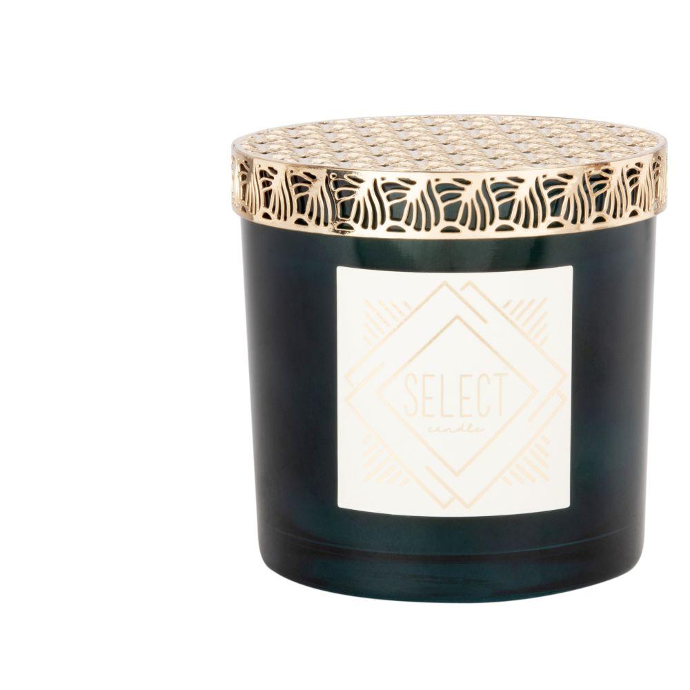 Kerze im Behaelter aus Glas und Metall, goldfarben