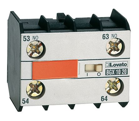 Lovato Auxiliary Contact - 2NO/2NC, 4 Contact, DIN Rail Mount, 10 A