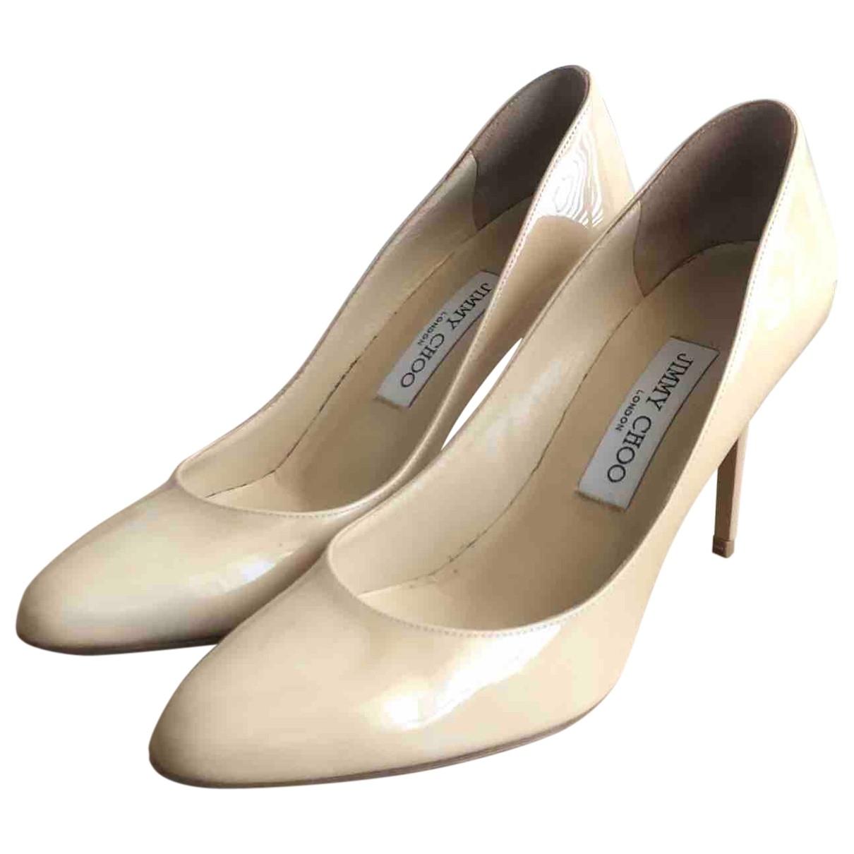 Jimmy Choo \N Beige Patent leather Heels for Women 38.5 EU