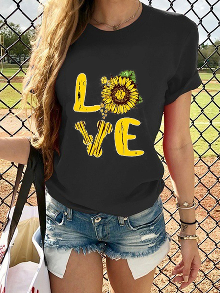 Yoins Casual Sunflower & Letter Print Crew Neck Short Sleeves Tee
