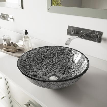 VGT829 Titanium Glass Vessel Bathroom Sink Set With Titus Wall Mount Faucet in