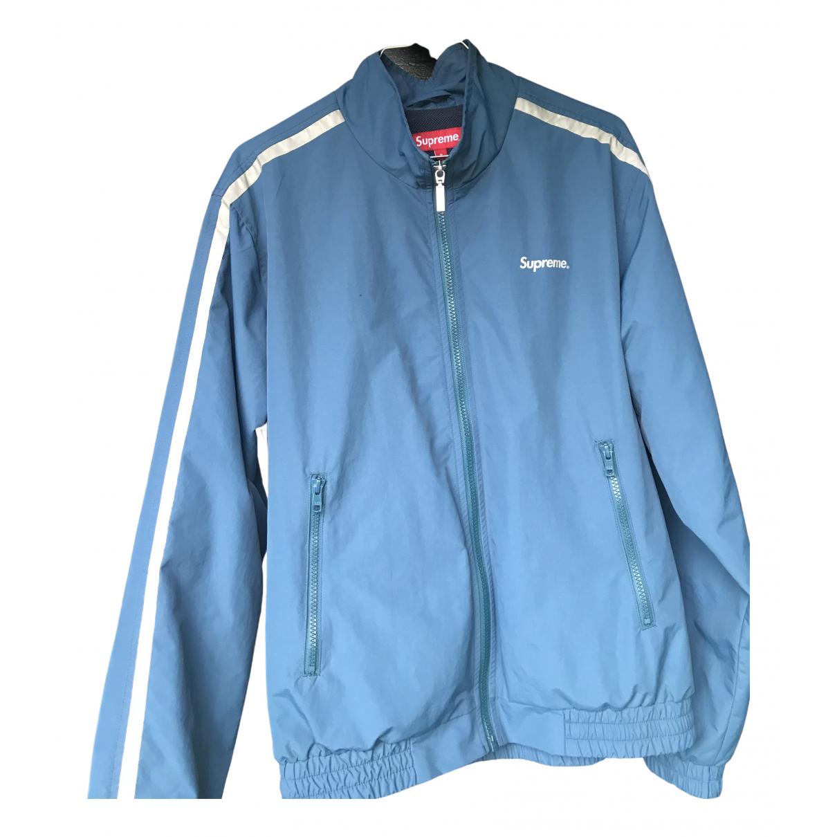 Supreme \N Jacke in  Blau Polyester