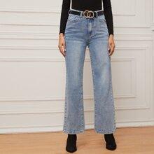 Jeans mit Waesche, geradem Beinschnitt ohne Guertel