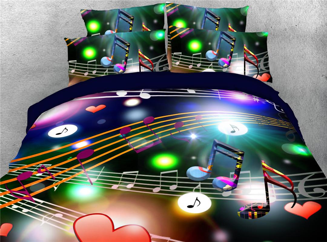Beating Music Note Polyester 4-Piece Set Duvet Cover Flat Sheet  and 2 Pillowcases Skin-friendly Zipper Bedding