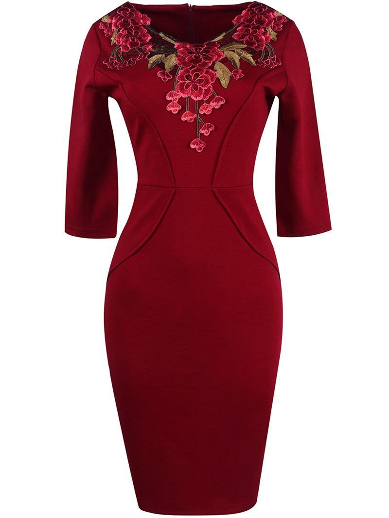 Ericdress Top Flower Embroidery Plain 3/4 Length Sleeves Bodycon Dress