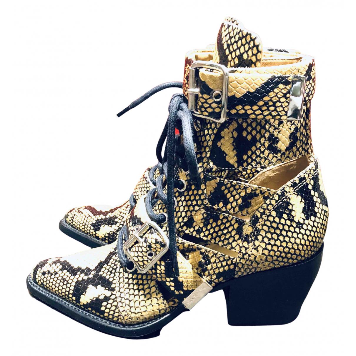 Chloe - Boots Rylee pour femme en cuir - jaune