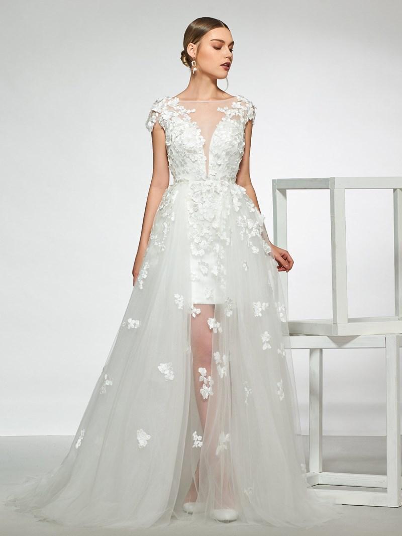 Ericdress Appliques Cap Sleeves Beach Wedding Dress