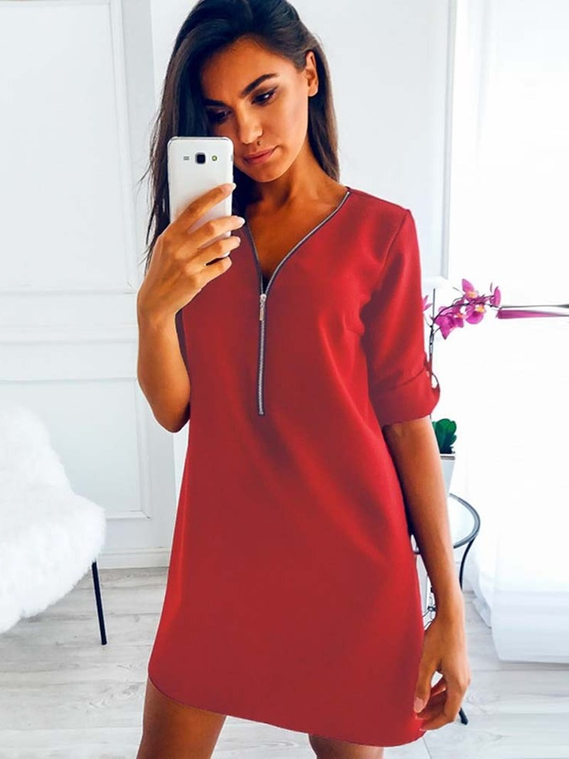 Ericdress Long Sleeve Knee-Length V-Neck Casual Pullover Dress