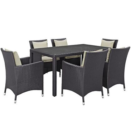 Convene Collection EEI-2241-EXP-BEI-SET 7 PC Outdoor Patio Dining Set with Powder Coated Aluminum Frame  All-Weather Fabric Cushions and Synthetic