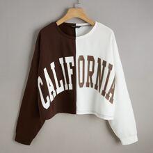 Sweatshirt mit Buchstaben Grafik, Farbblock und sehr tief angesetzter Schulterpartie