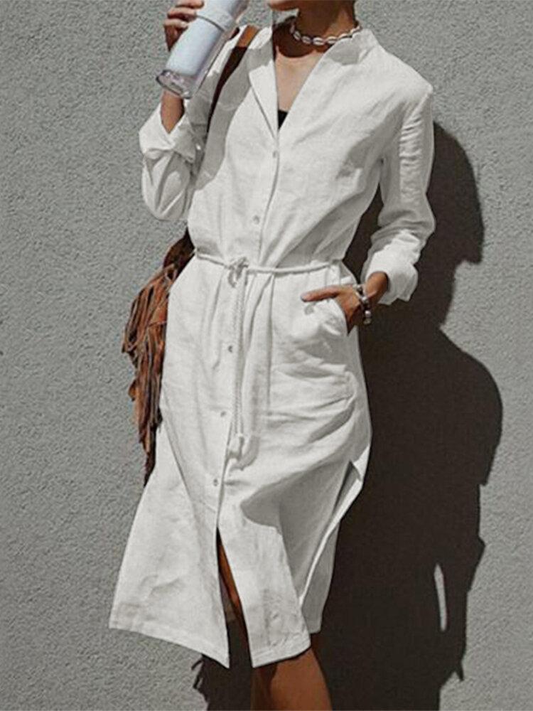 Side Slit Hem Waist Belt Long Sleeve Vintage Lapel Plus Size Dress